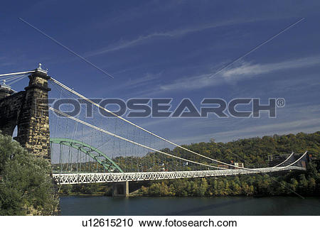 Stock Photography of bridge, West Virginia, Wheeling, Scenic view.