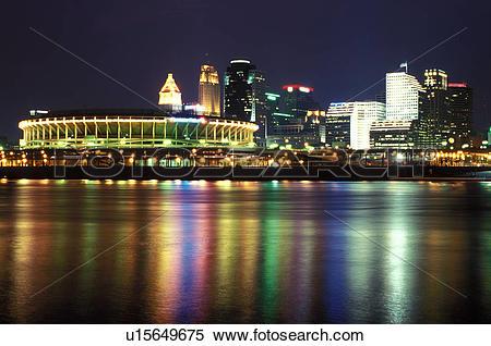 Stock Image of stadium, Cincinnati, skyline, OH, Ohio, Cinergy.