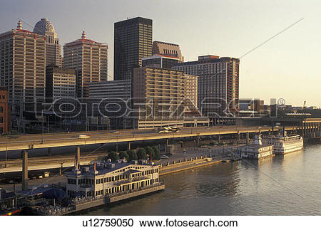 Stock Photography of Louisville, KY, skyline, Kentucky, Ohio River.