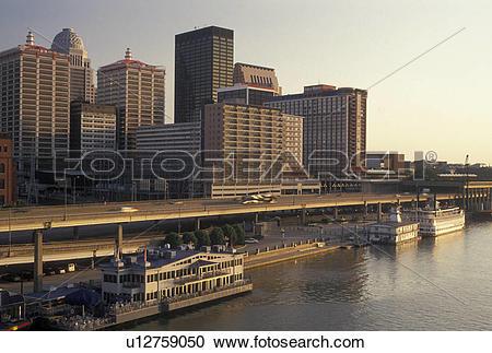 Stock Photography of Louisville, KY, skyline, Kentucky, Ohio River.