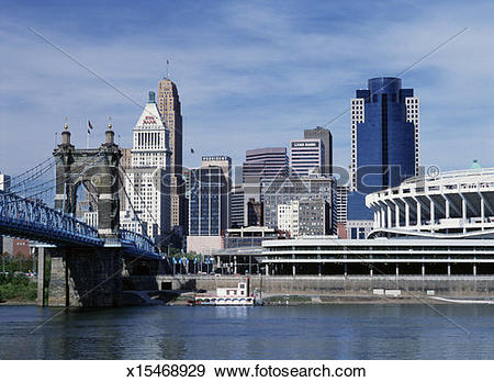 Stock Photograph of USA, Ohio, Cincinnati skyline and John.