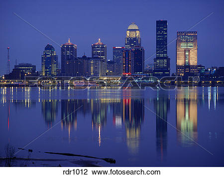 Stock Photo of Evening view of Louisville, Kentucky across the.