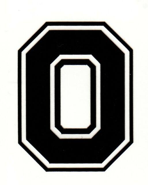 Reflective Black Ohio State Buckeye Block O 2 Inch Fire Motorcycle Helmet  Decal.
