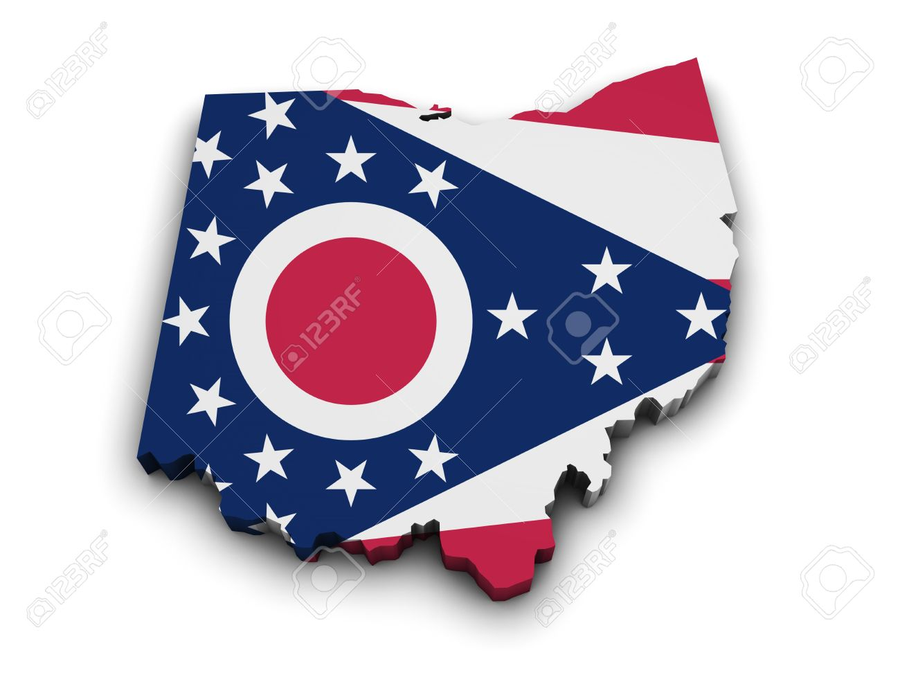 Shape 3d Of Ohio State Map With Flag Isolated On White Background.