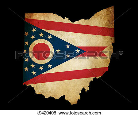 Stock Illustration of USA American Ohio State Map outline with.