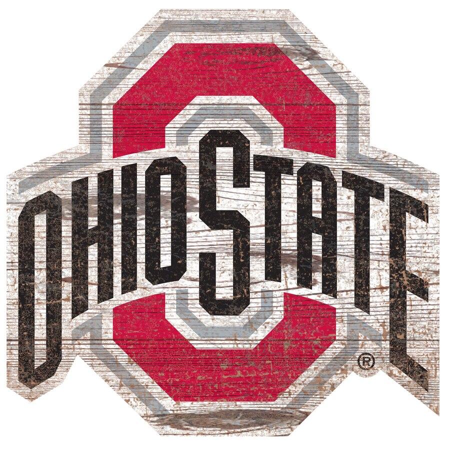 Ohio State Buckeyes 24\'\' x 24\'\' Distressed Logo Cutout Sign.