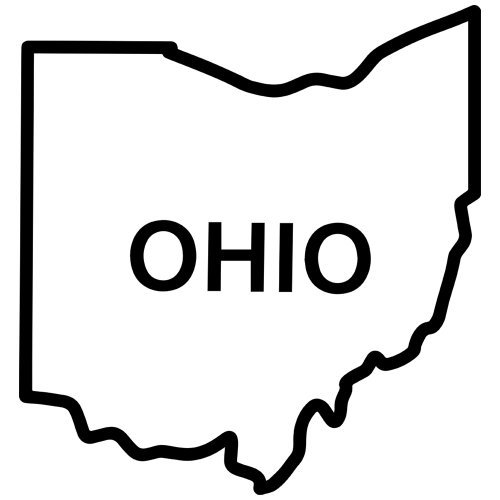 Ohio State Outline Decal Sticker. Available in 19 colors.
