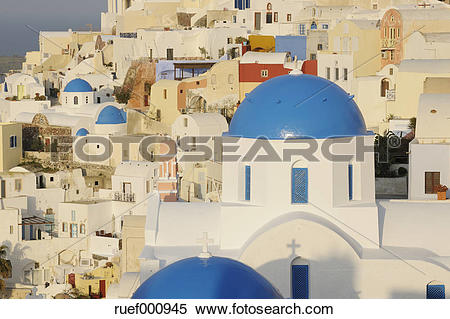 Stock Image of Greece, View of classical whitewashed church at Oia.