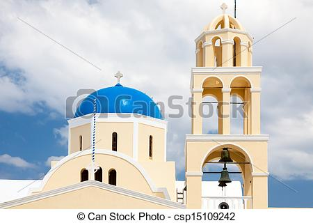 Stock Photo of St George Church Oia Santorini Greec.