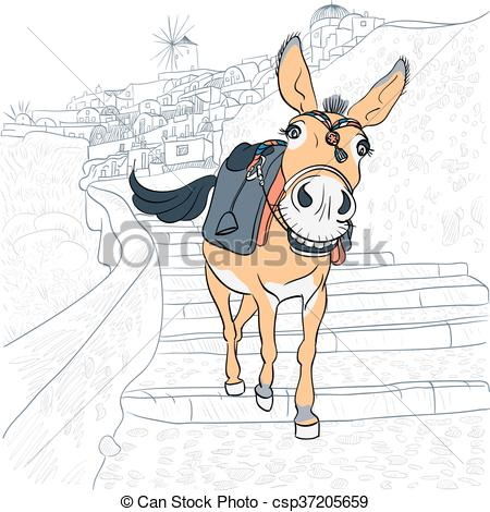 Clipart Vector of Donkey in Oia, Santorini.