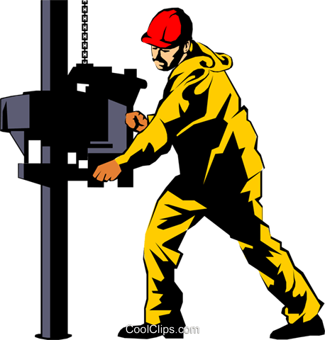 Man working on oil rig Royalty Free Vector Clip Art.