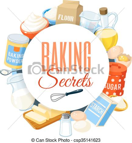 Vector Illustration of Baking label with flour, eggs, oil, water.