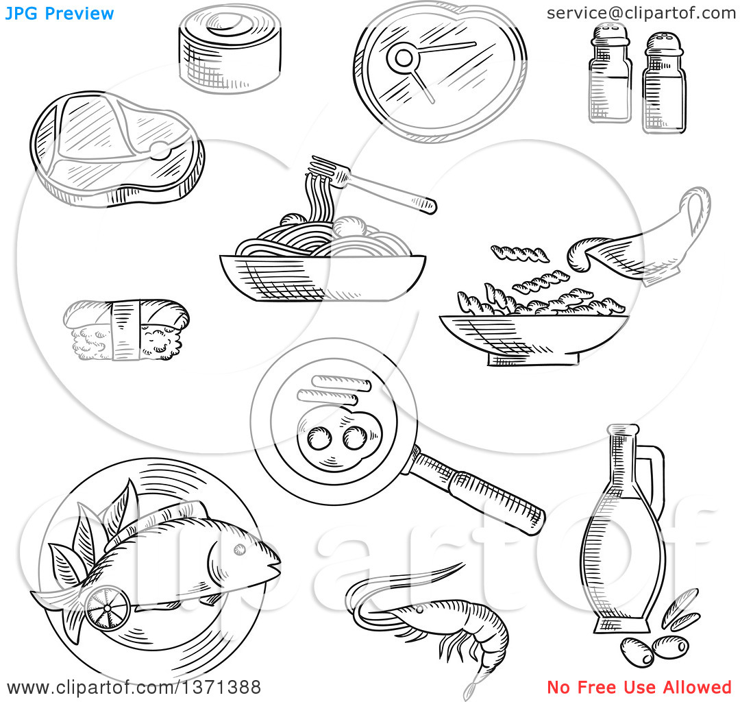 Clipart of Black and White Sketched Sushi Roll and Nigiri, Pasta.