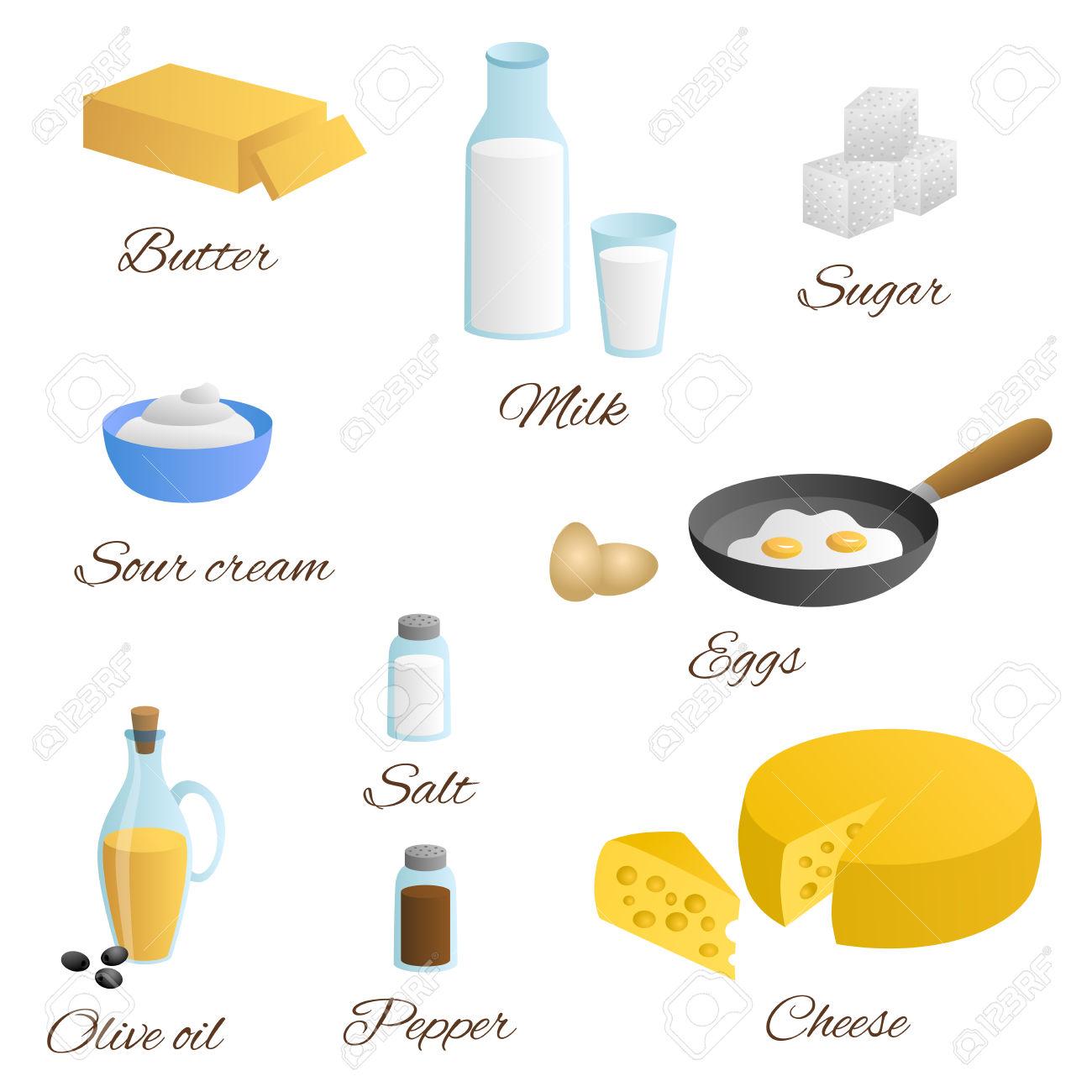 Food Milk Egg Butter Cheese Olive Oil Sour Cream Salt Pepper.