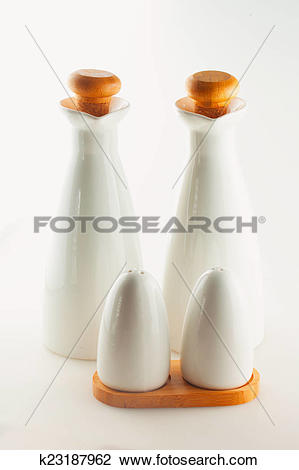 Clip Art of Salt, pepper, oil, vinegar k23187962.