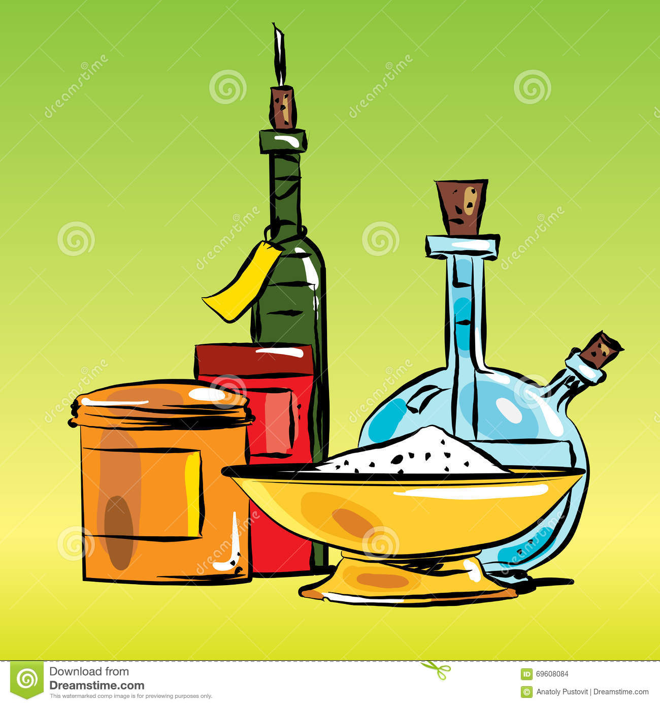 Condiments Cooking Oil And Salt Stock Vector.