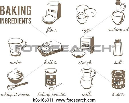 Clipart of Set of monochrome, lineart food icons: baking.