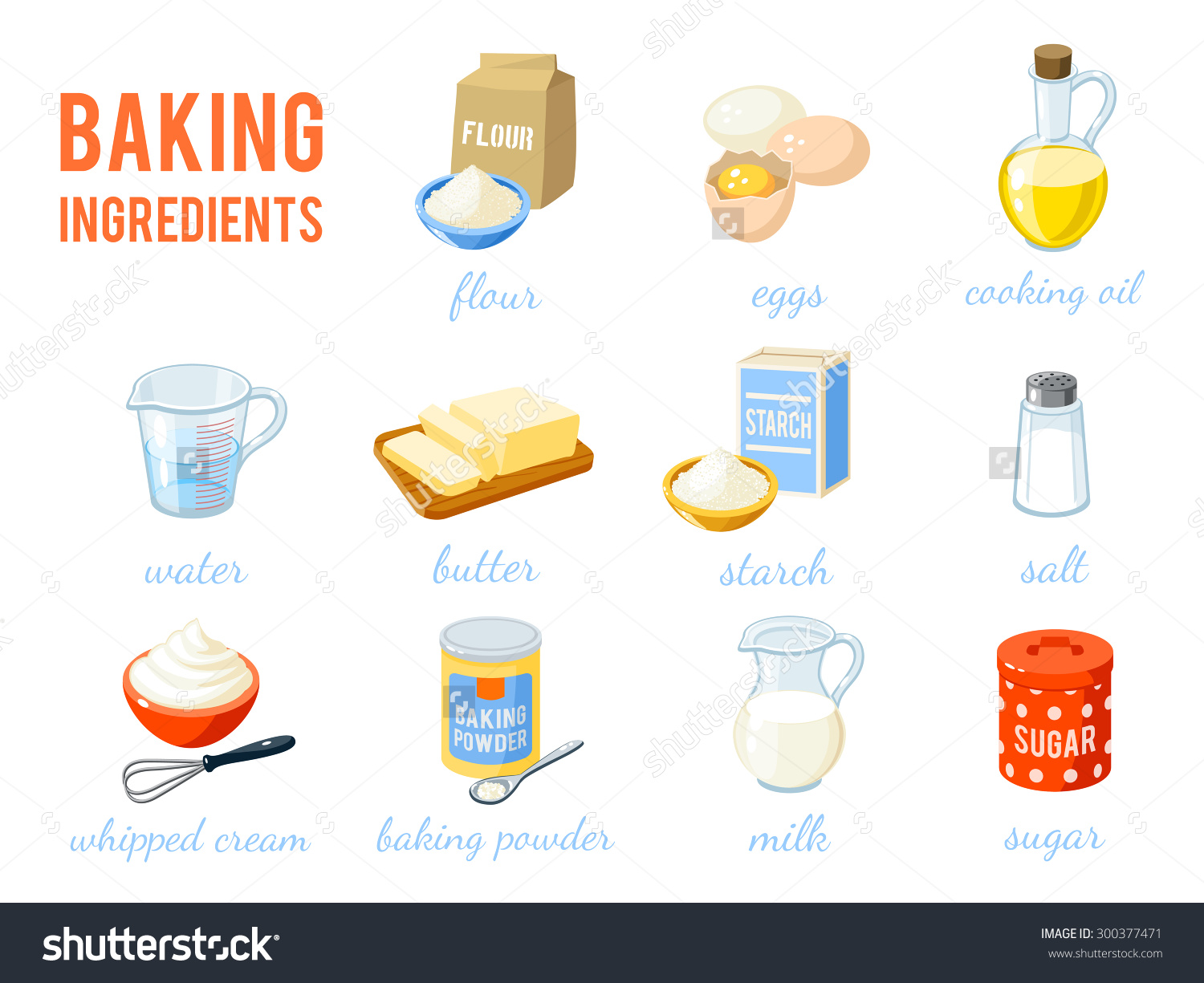 Set Cartoon Food Baking Ingredients Flour Stock Vector 300377471.