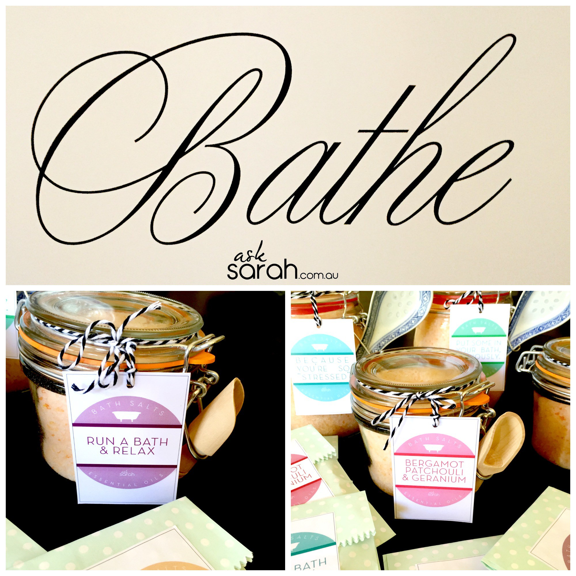 Make: DIY Essential Oil Bath Salts {with FREE Printable Labels.