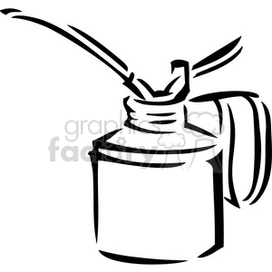 black and white oil can clipart. Royalty.