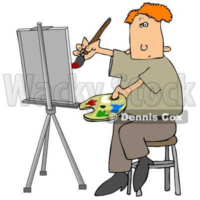 People Clipart Illustration Image of a Red Haired Male Artist.