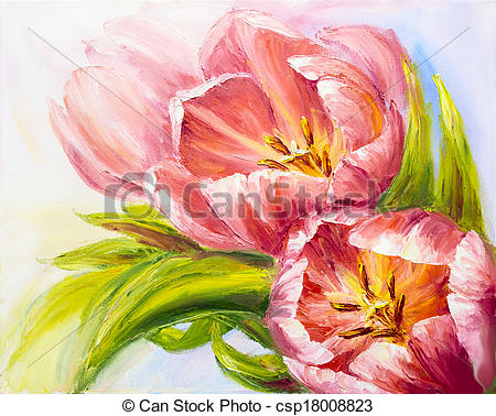 Stock Photo of Tulips, oil painting on canvas csp18008823.