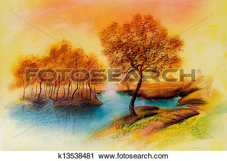 Clipart of Landscapes on oil canvas k13538481.