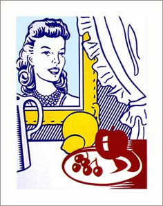 Famous Roy Lichtenstein Pop Art Oil Painting on Canvas.