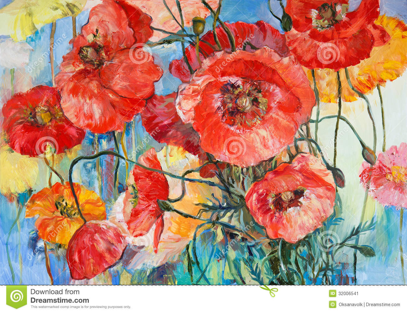 Poppies , Oil Painting On Canvas Royalty Free Stock Photos.