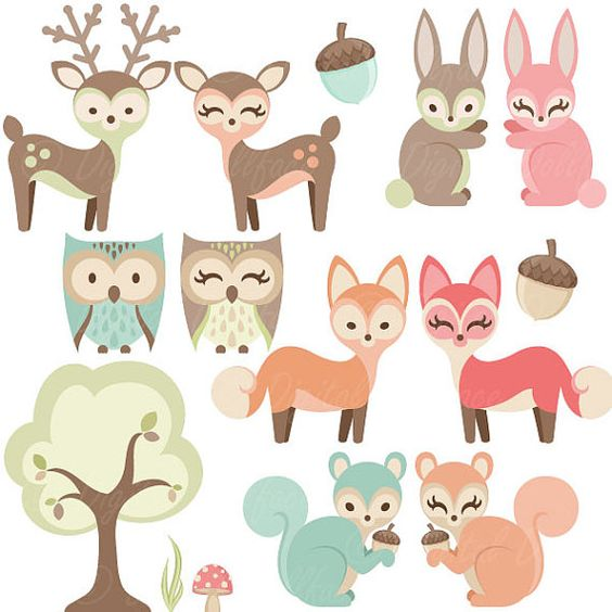 Woodland Nursery Clipart, Baby Animals Clip Art, Forest Friends.