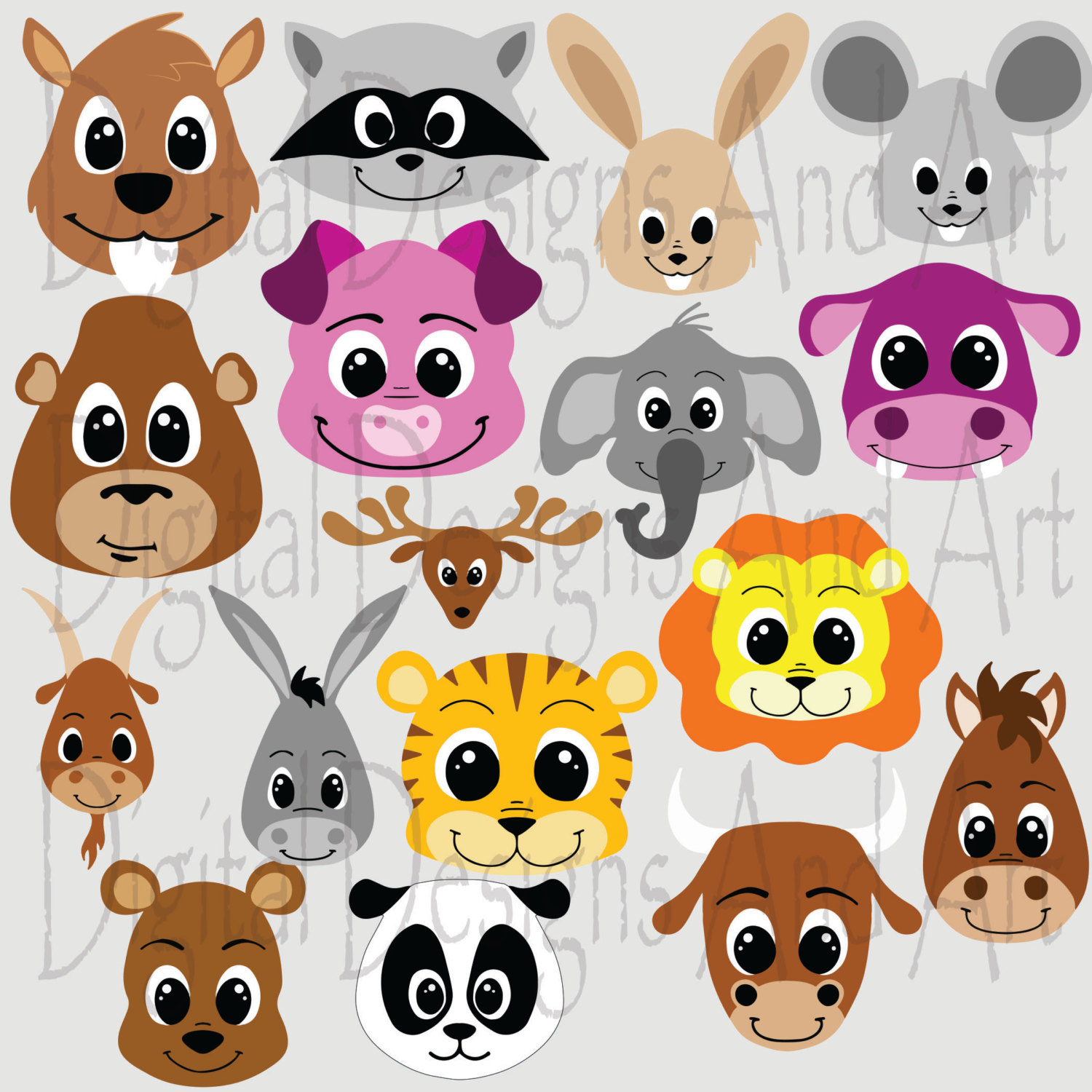 Animal face clipart.