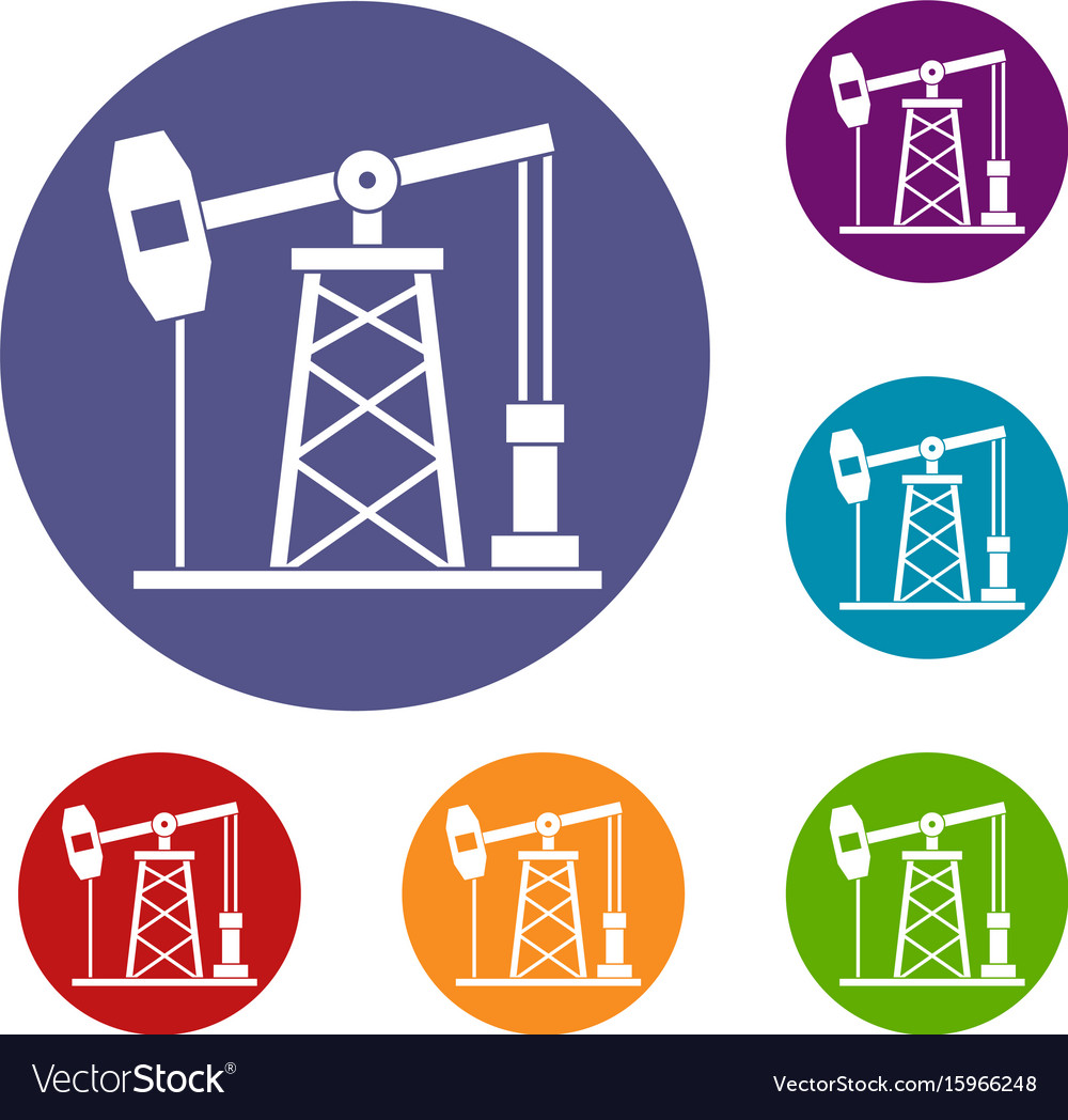 Oil derrick icons set.