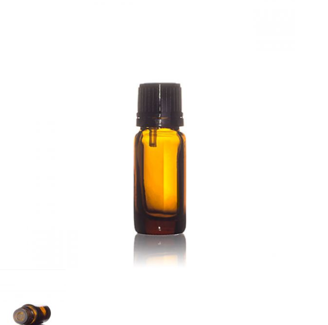 Amber Glass Round 10ml Essential Oil Bottle With Tamper Evident Cap And  Dropper.
