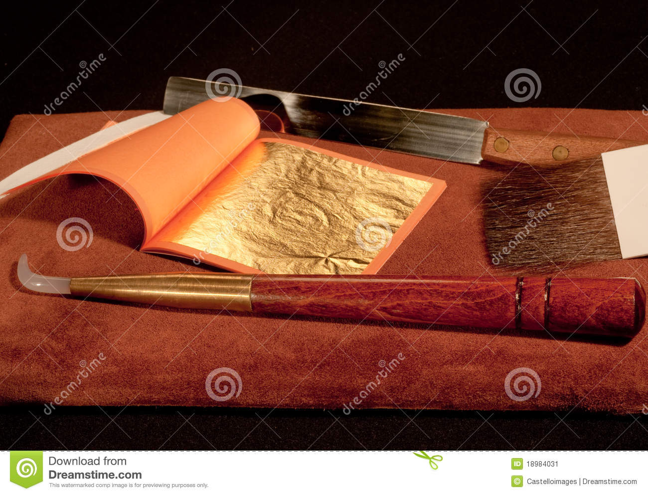 Gilding Tools And Gold Leaf Stock Image.