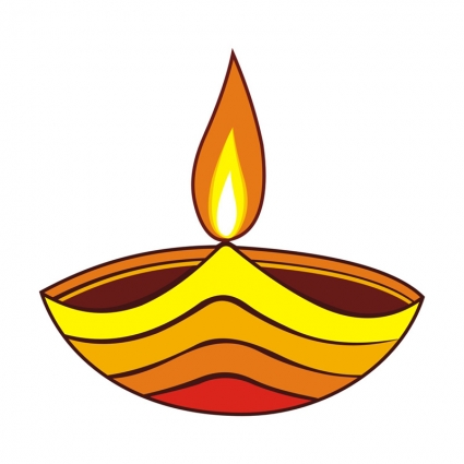 Indian oil lamp clipart.
