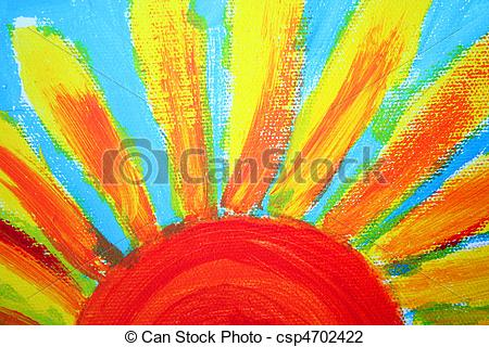 Clip Art of half sun painting, oil on canvas as background.