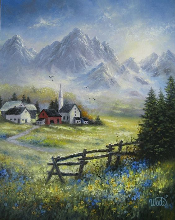 Mountain Landscape Original Oil Painting 16X20, alpine village.