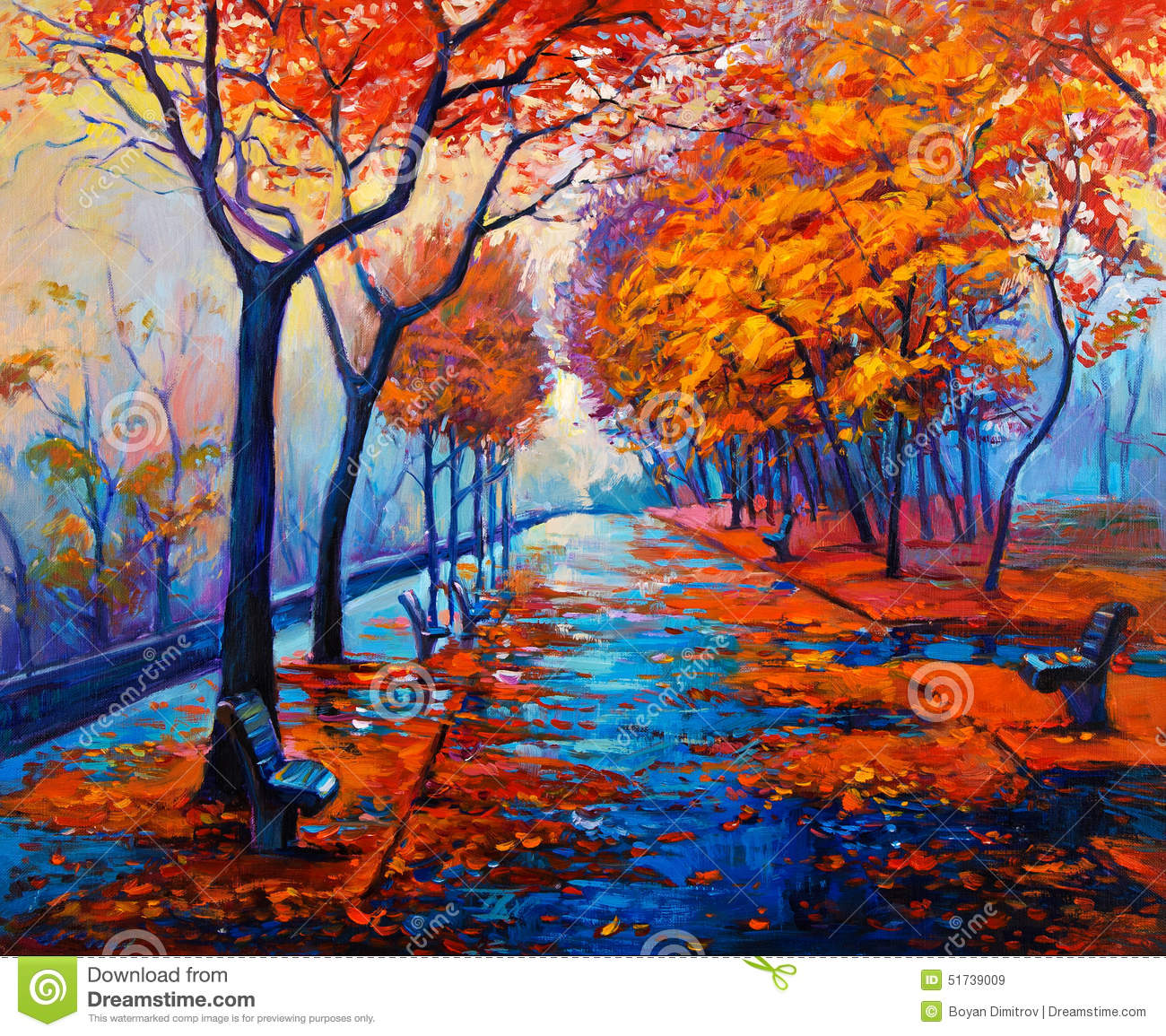 Autumn Landscape, Beautiful Park On Painting. Golden Autumn. Stock.