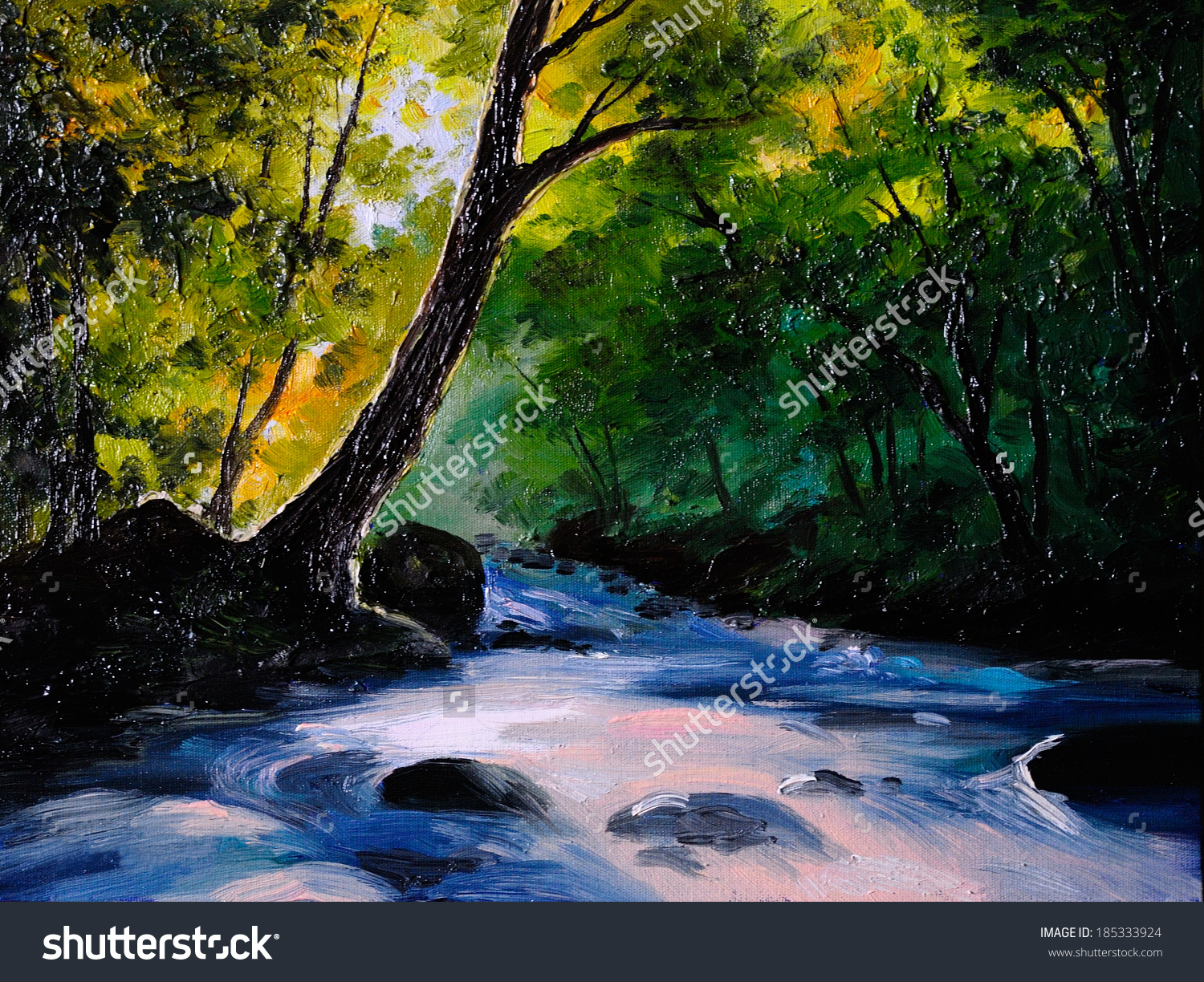 Painting Picture Oil Painting On Canvas Stock Illustration.