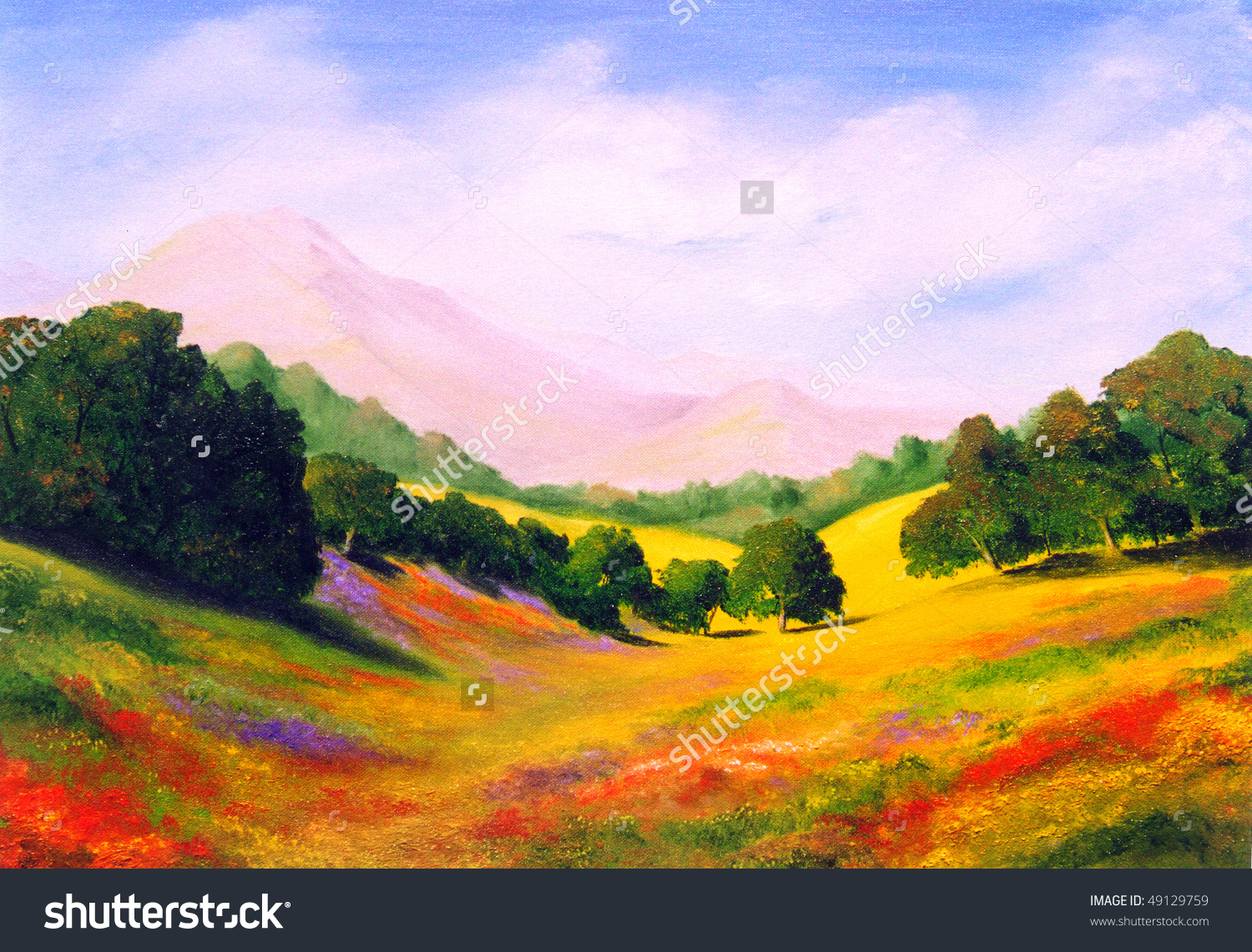 Beautiful Original Oil Painting Landscape On Stock Photo 49129759.
