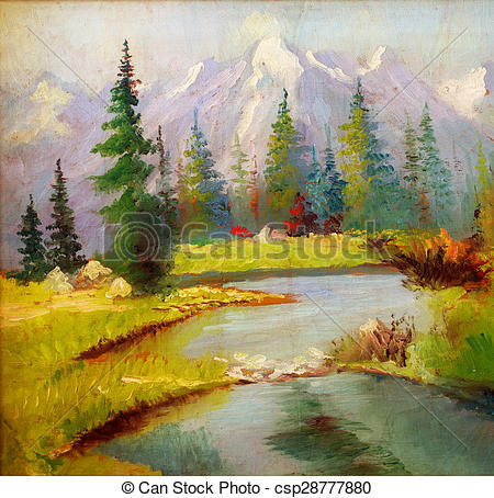 Stock Illustration of Beautiful Original Oil Painting Landscape On.