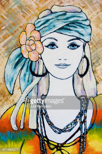 Young Hippie Woman Portrait Oil Painting stock vectors.