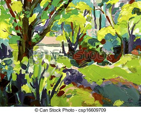Vector Clipart of Original oil painting landscape with tree. I.