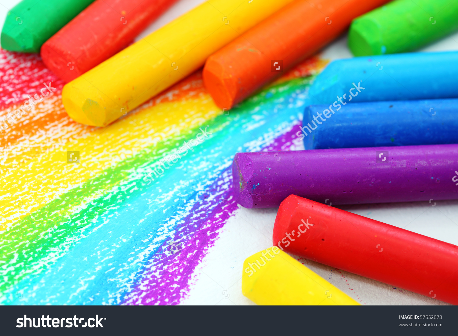 Oil Pastel Crayons On White Paper Stock Photo 57552073.