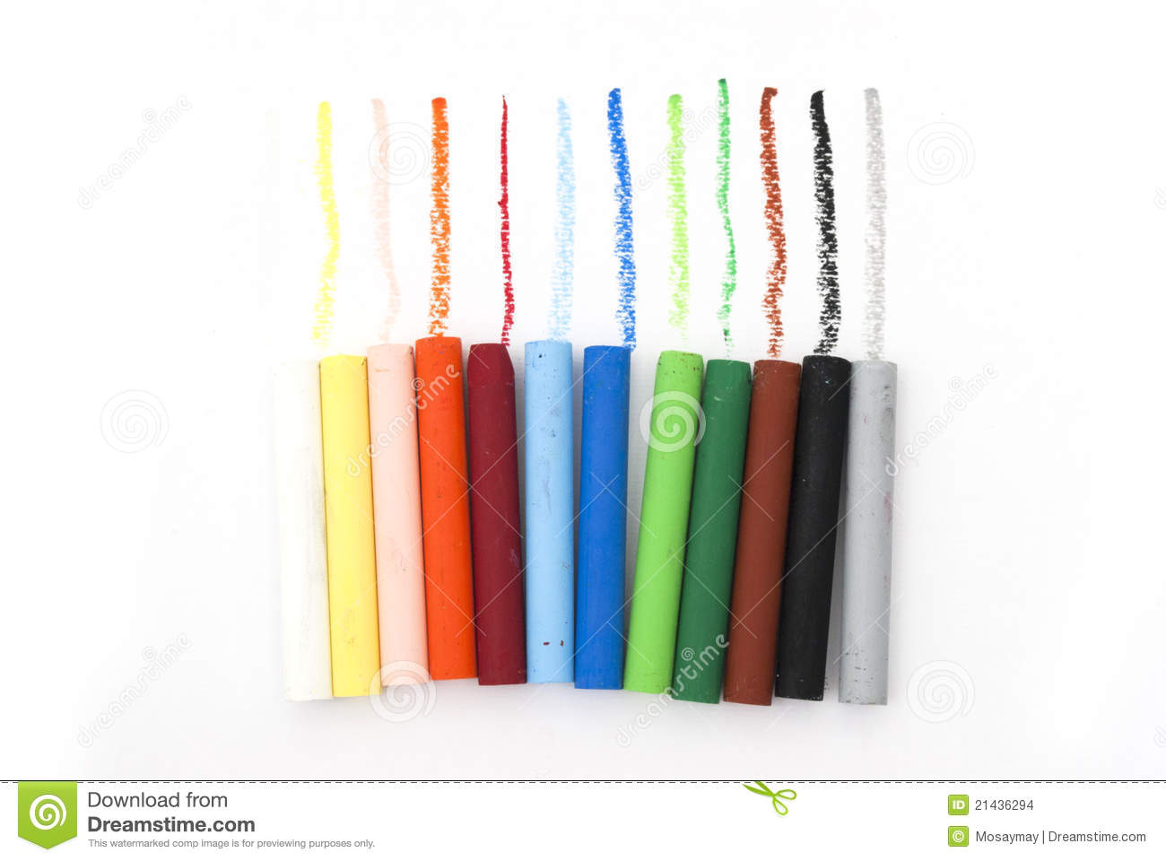 Line Of Oil Pastels Stock Images.