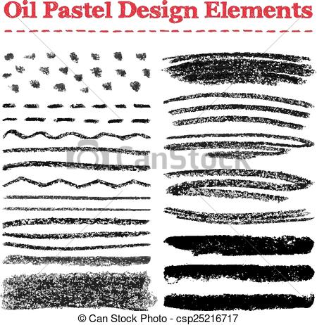 Vector Clip Art of Set of oil pastel brush strokes and design.