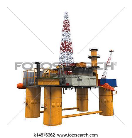 Clip Art of Drilling Offshore Platform Oil Rig k14876362.