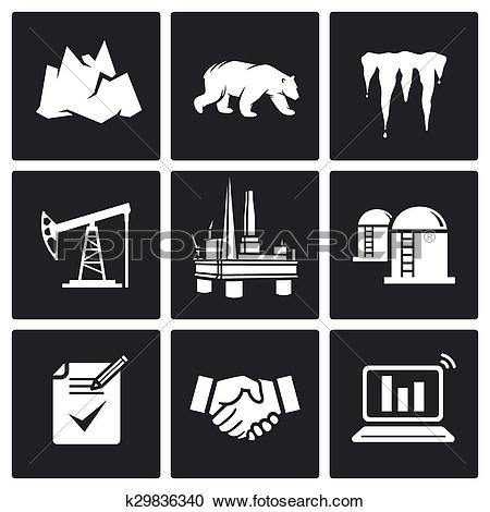 Clipart of Arctic and oil production Vector Ic k29836340.