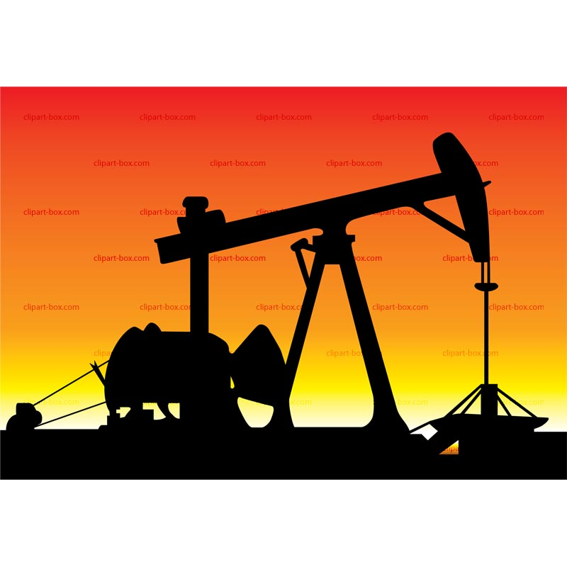 CLIPART OIL PUMP IN SUNSET.