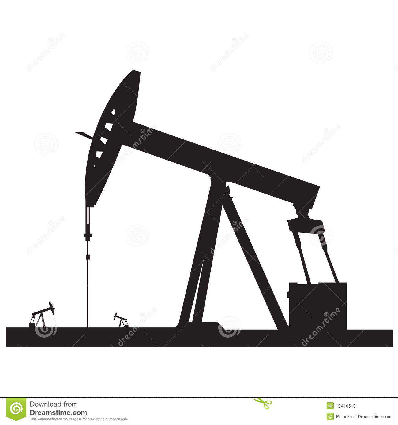 Oil Pump Silhouette Stock Photo.